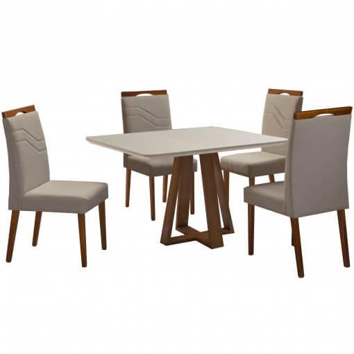 Mesa Vitra com 4 Cadeiras 120x90 Mel Off White