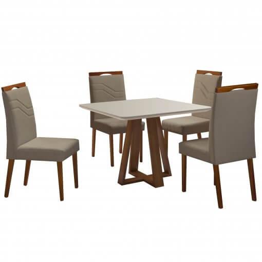 Mesa Vitra com 4 Cadeiras 90x90 Mel Off White