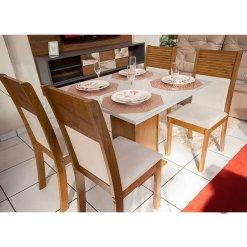 Mesa de Jantar Napoli Tampo MDF e Vidro Off 90X90 com 4 Cadeiras