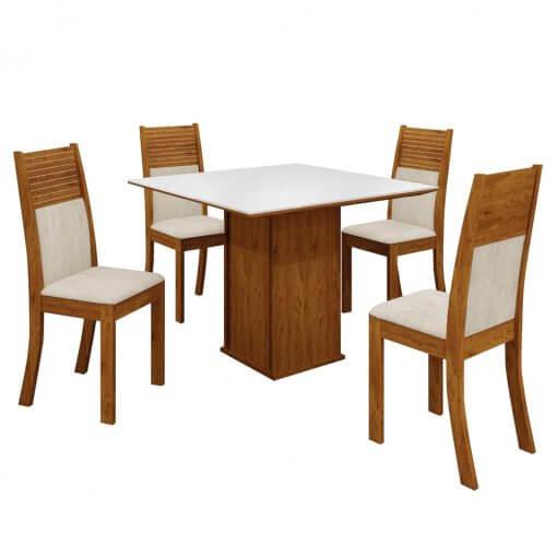 Mesa de Jantar Napoli Tampo MDF e Vidro com 4 Cadeiras