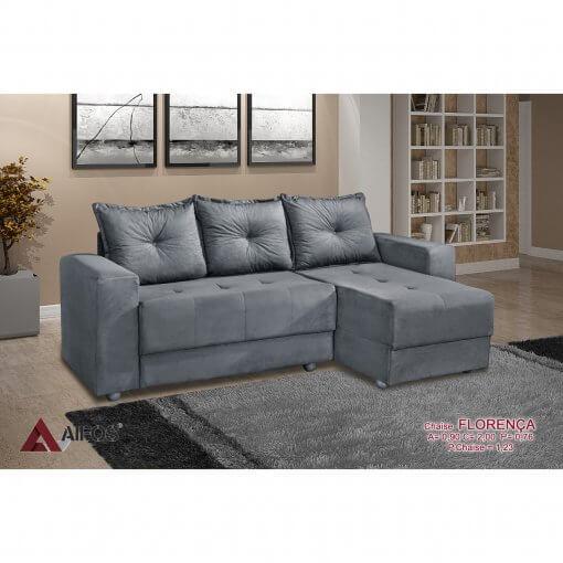 Sofa 3 Lugares com Chaise Florenca Cinza
