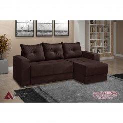 Sofa 3 Lugares com Chaise Florenca Marrom