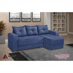 Sofa 3 Lugares com Chaise Florenca azul