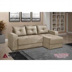 Sofa 3 Lugares com Chaise Florenca bege