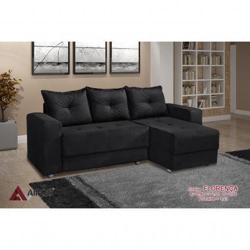 Sofa 3 Lugares com Chaise Florenca preto