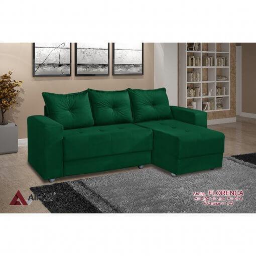 Sofa 3 Lugares com Chaise Florenca verde