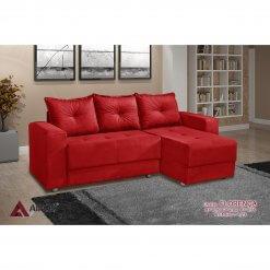 Sofa 3 Lugares com Chaise Florenca vermelho
