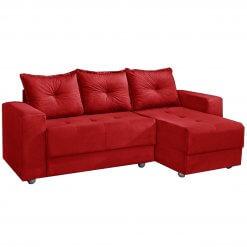 Sofa 3 Lugares com Chaise Florenca vermelho suede