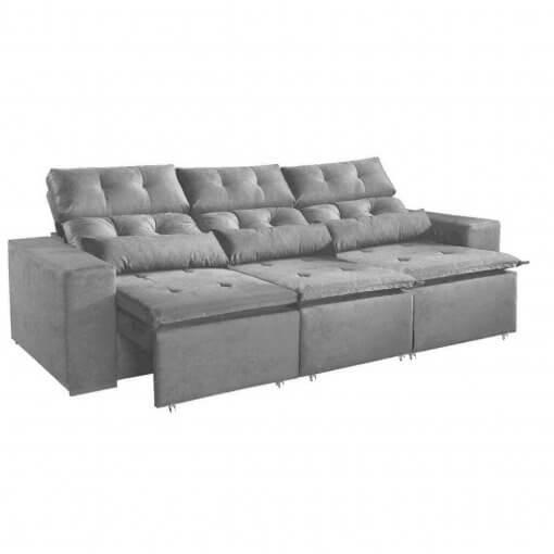 Sofa-Montreal-265cm-Retratil-e-Reclinavel-Tecido-Suede-Cinza