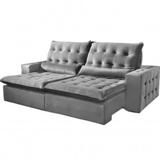 Sofa Retratil e Reclinavel 250cm Bari Tecido Suede Cinza