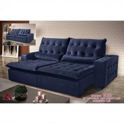 Sofa Retratil e Reclinavel 250cm Bari azul