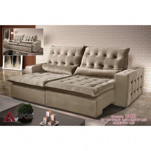 Sofa Retratil e Reclinavel 250cm Bari bege