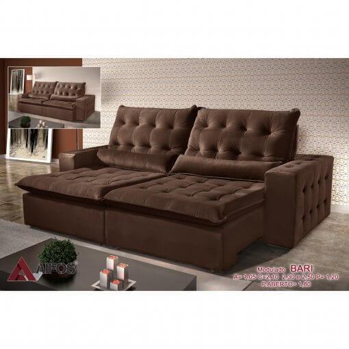 Sofa Retratil e Reclinavel 250cm Bari marrom
