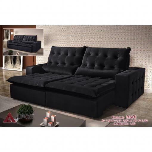 Sofa Retratil e Reclinavel 250cm Bari preto