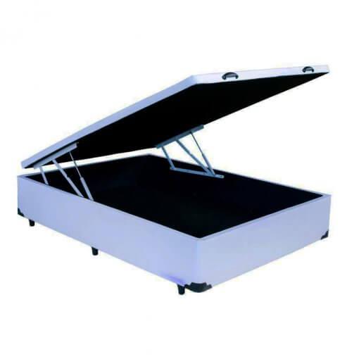 base cama box bau casal branca