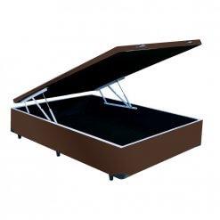 base cama box bau casal marrom