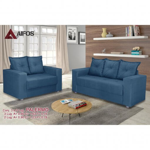 conjunto sofa 2 e 3 lugares palermo azul