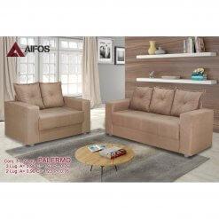 conjunto sofa 2 e 3 lugares palermo bege