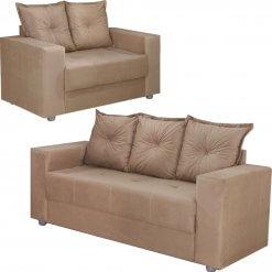 conjunto sofa 2 e 3 lugares palermo bege perfil