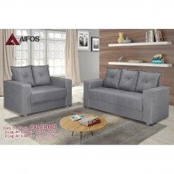 conjunto sofa 2 e 3 lugares palermo cinza