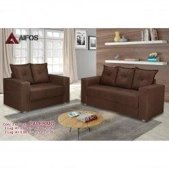 conjunto sofa 2 e 3 lugares palermo marrom