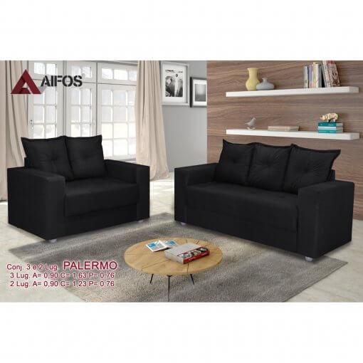 conjunto sofa 2 e 3 lugares palermo preto