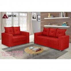 conjunto sofa 2 e 3 lugares palermo vermelho