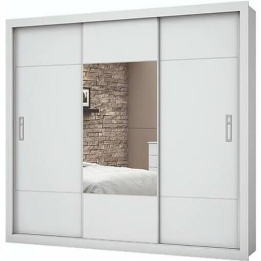 guarda roupa casal com espelho 3 portas lotse branco