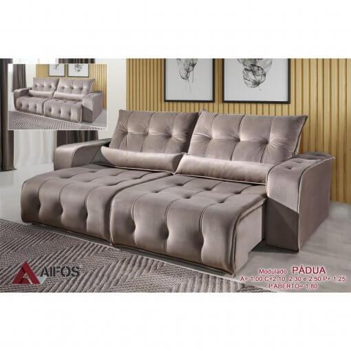 sofa retratil e reclinavel padua bege
