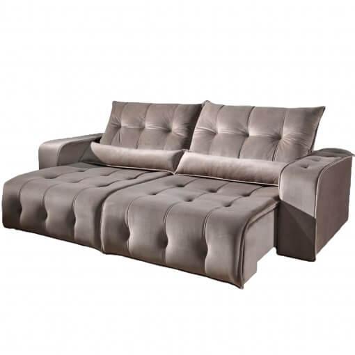 sofa retratil e reclinavel padua bege suede
