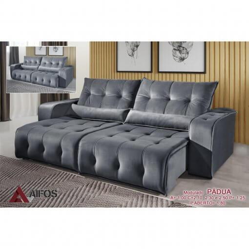 sofa retratil e reclinavel padua cinza