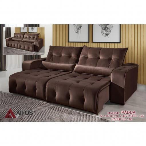 sofa retratil e reclinavel padua marrom