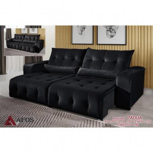 sofa retratil e reclinavel padua preto