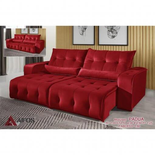 sofa retratil e reclinavel padua vermelho tecido suede