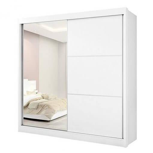 Guarda Roupa Casal com Espelho 2 Portas De Correr 6 Gavetas Titanium Branco D Doro