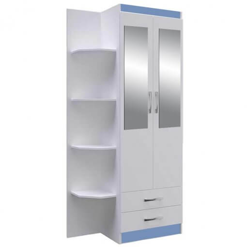 Guarda Roupa Infantil 2 Portas 2 Gavetas e Cantoneira Trento 5010 Doripel Azul com espelho