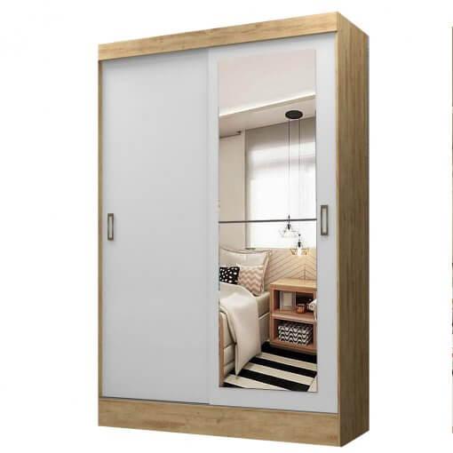 Guarda Roupa Solteiro com Espelho 2 Portas 1 Gaveta Aquila Maxel Capuccino Branco