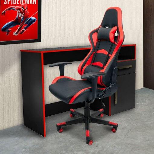 Escrivaninha Mesa Gamer Isabele Vermelha Ambiente