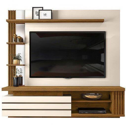 Painel Home Suspenso Marin para Tv ate 55 Polegadas 3 Portas Off White Demolicao Dj Moveis