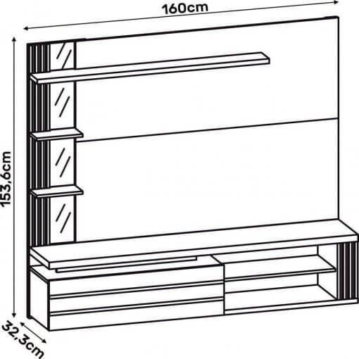 Painel Home Suspenso Marin para Tv ate 55 Polegadas 3 Portas Off White Demolicao Dj Moveis Medidas
