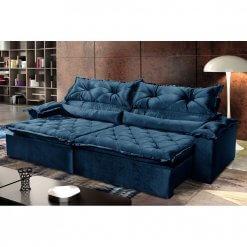 Sofa 4 Lugares Retratil e Reclinavel Agatha Tecido Suede 240cm azul ambiente