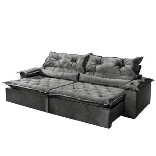 Sofa 4 Lugares Retratil e Reclinavel Agatha Tecido Suede 240cm cinza