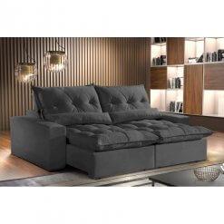Sofa Avalon Retratil e Reclinavel 230cm Montano Estofados Grafite