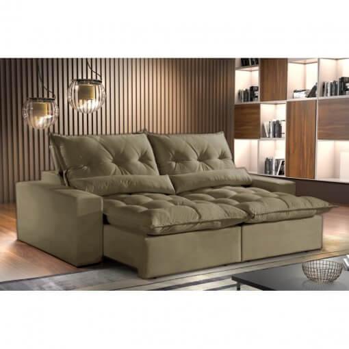Sofa Avalon Retratil e Reclinavel 230cm Montano Estofados bege