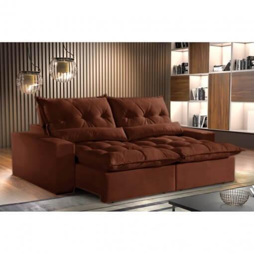 Sofa Avalon Retratil e Reclinavel 230cm Montano Estofados marrom