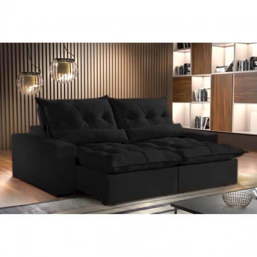 Sofa Avalon Retratil e Reclinavel 230cm Montano Estofados preto