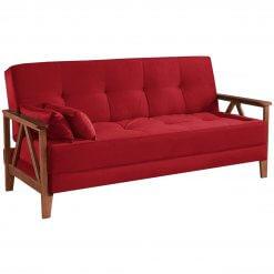 Sofa Cama Verona Aifos Estofados vermelho suede