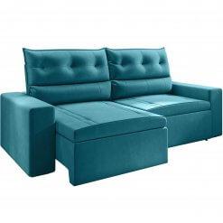 Sofa Lyon Retratil e Reclinavel azul