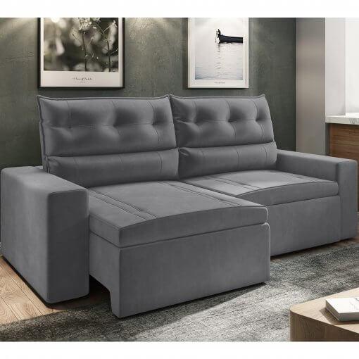 Sofa Lyon Retratil e Reclinavel cinza