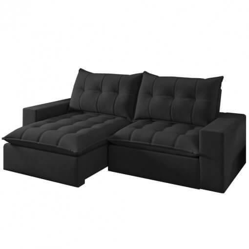 Sofa Portugal Retratil e Reclinavel preto
